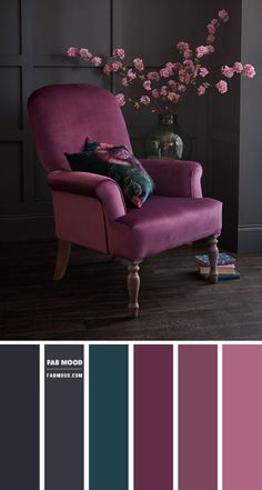 Color Schemes Colour Palettes, Living Room Color Schemes, Living Room Colors, Living Room Grey, Home Living Room, Living Room Designs, Grey Living Room Ideas Colour Palettes, Interior Colour Schemes, Purple Living Room Furniture