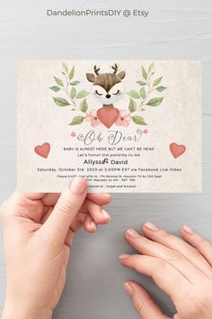 Introducing LUA - This cute virtual baby shower invite features a sweet masked woodland deer perfect for a little baby girl. This card is an editable instant download template.
