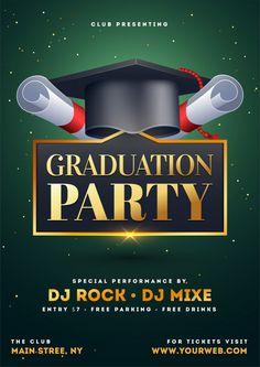 Graduation party flyer. Premium Vector Software, Free Park, Vector Freepik, Party Flyer, Graduation, Certificate, Authors, Prom Party, Brochures