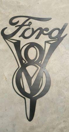 Ford v8 sign metal wall art plasma cut