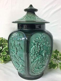 Beautiful Vintage SylvaC Green Pottery Oriental Paradise Ginger Jar