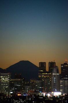 Shinju-ku Tokyo with Mount Fuji, Japan