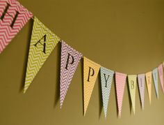 Happy Birthday Banner -Personalized Bunting (Sign, Flags, Pennants) in pastel and neon colors with chevron. Perfect for Party Decoration