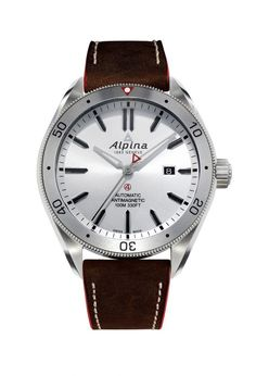 @alpinawatches Alpiner 4 Automatic - this three-hand date model features a 44-mm stainless steel case (holding Alpina's automatic Caliber AL-525) and a bidirectional rotating bezel that can be used for timing events.  It is shown here with silver dial on a brown leather strap.  More @ http://www.watchtime.com/wristwatch-industry-news/industry/alpina-extends-alpiner-4-collection-with-new-automatic-and-gmt-models/ #alpina #watchtime #menswatches