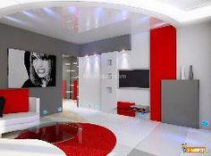 aménagement deco salon gris blanc rouge | Déco bedroom | Décoration ...
