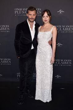 Beautiful! ❤️❤️❤️  Dakota Johnson and Jamie Dornan at Premiere in Paris, France (Feb. 6th,2018). Cr. @DakotaJLife