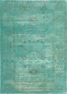 Love the color of this Matt Camron Overdyed Aqua rug!! We have something similar. This rug has a softer, look than most over-dyed rugs.