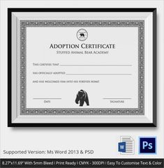 Blank Adoption Certificate  Blank Adoption Certificate Template