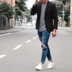 Black blazer striped t shirt ripped jeans and white sneakers by @konny100 [ http://ift.tt/1f8LY65 ]