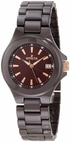 Invicta Women's 12542 Ceramics Brown Dial Brown Ceramic Watch Invicta. $79.99. Water-resistant to 100 M (330 feet). Quartz movement. Date function at 3:00. Brown dial with rose gold tone hands and hour markers; 18k rose gold ion-plated stainless steel crown. Flame-fusion crystal; brown ceramic case and bracelet. Save 91%!