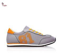 GUESS - Chaussure de sport grise à lacets, en synthétique, applications en cuir et suède, garçon,garçons,enfant,homme-36 - Chaussures guess (*Partner-Link)