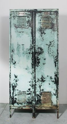 rustic aqua metal locker storage... swoon
