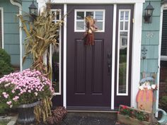 I Always wanted an eggplant-colored front door. Finally found the perfect aubergine...Dark Basalt by Benjamin Moore. LOVE!