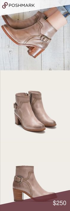 """FRYE Janis Shield Short Taupe Booties Just like new. Italian leather - Leather lined - Leather with rubber outsole - 4 3/5"""" shaft height - 10 2/5"""" shaft circumference - 2 3/5"""" heel height - light Pink Nude Blush Color Frye Shoes Ankle Boots & Booties"""