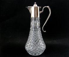 Vintage Victorian Silver Plate Crystal Claret Jug, Wine Liquor Decanter Pitcher, Home Decor, Gift for Her/Him