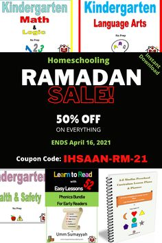 Ramadan 2021 SALE on Ihsaan Home Academy! Get 50% Off on EVERYTHING Ends April 16, 2021 Coupon code: IHSAAN-RM-21 May Allah help us reach Ramadan in good health and emaan #ramadansale #ramadan2021 #ramadansales #RamadanMubarak Homeschooling Resources, Curriculum, Kindergarten Math, Preschool, Everything Ends, Learn To Read, Phonics, Ramadan, Allah