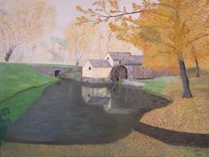 """Oil painting titled """"Mabry Mill, WV (Autumn Light Foggy Morning"""", done on a 36"""" x 48"""" x 1.5"""" canvas. Not available."""