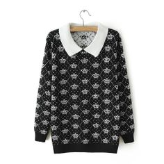 wholesale women Women Black Cotton Blends Sweater $ 7.50