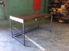 Reclaimed Wood Desk with Push Release Pen Drawer  Steel by robrray, $1395.00