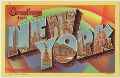 This vintage postcard, circa 1934, shows various scenes from New York City, including the Empire State Building and the Chrysler Building.