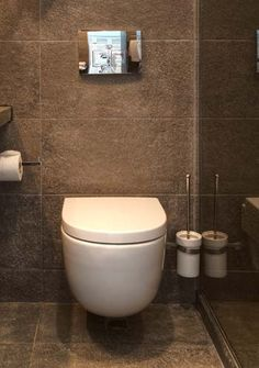 wall hung toilet in a small bathroom
