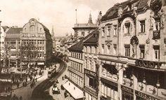 Breslau. Ohlauer Strasse (Oławska z widokiem od strony wschodniej w kierunku Rynku). Po prawej kamienice pomiędzy ulicami bł. Czesława i Zaułkiem Kocim, 1913.