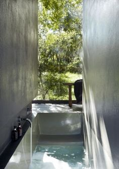 """The Pavilion is situated in the Cradle of Humankind is """"the closest you can get to living in nature without being exposed to the elements"""". Architectural Digest, Ideal Bathrooms, Small Bathroom, Bathroom Ideas, Bathroom Inspo, Sunken Bath, Architecture Design, Life Space, Rental Property"""