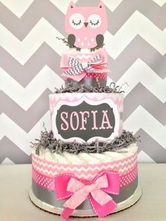 Chevron Owl Diaper Cake, Pink and Gray on Etsy, $59.00 by bertie
