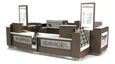 العرف تصميم التجزئة | الأكشاك، ومحلات فاخرة، RMU، وتحت عنوان، وطعام الشارع creationsgr.com Kiosk Design, Retail Design, Retail Merchandising, Retail Experience, Guest Services, Architectural Features, Common Area, Luxury Shop, The Unit