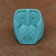 Carved Blue Owl ring. $25 (come in teal, black , tan, and jade)
