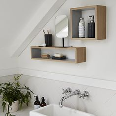 Buy Design Project by John Lewis Square Bathroom Wall Shelf from our Bookcases, Shelving Units & Shelves range at John Lewis & Partners. Free Delivery on orders over John Lewis Home, Bathroom Wall Shelves, Bathroom Styling, Bathroom Ideas, Orange Walls, Open Shelving, Wall Shelving, Room Interior, Bathroom