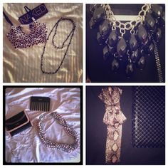Black, Lavender and Silver All included 1 Necklace Brande new with tags 1 long chain black necklace used in excellent condition 1 comb in package from Victoria's Secret Brand new in package 1 Lavender Bow headband in snake print brand new never worn. Victoria's Secret Accessories