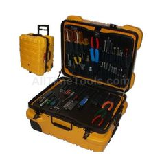 Extremely durable tool case is designed to meet strict military specifications. Built-in cart.