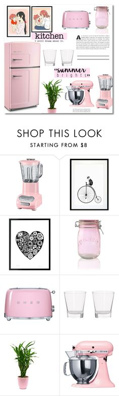 """My Kitchen"" by dolly-valkyrie ❤ liked on Polyvore featuring interior, interiors, interior design, home, home decor, interior decorating, KitchenAid, Eleanor Stuart, Kilner and Smeg"
