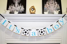 It's a Boy banner, soccer theme baby shower decorations, baby room decor, baby… Soccer Baby Showers, Baby Shower Parties, Baby Shower Themes, Baby Boy Shower, Baby Shower Decorations, Shower Ideas, Baby Boy Banner, Its A Boy Banner, Baby Banners