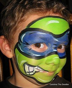 Turtle Hero, Cool Face Painting Ideas For Kids, http://hative.com/cool-face-painting-ideas-for-kids/,