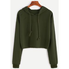 Army Green Drop Shoulder Ripped Hooded Crop Sweatshirt (159.945 IDR) ❤ liked on Polyvore featuring tops, hoodies, sweaters, green, green hoodie, army green hoodie, pullover hoodie, long sleeve tops and pullover hoodies