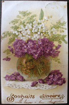 CPA 3678C Fantaisie Souhaits Sinceres Vase Bouquets Fleurs Muguet Peinture Signe vintag postcard, ephemera flower