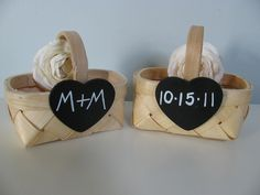 Rustic Small Woven Flower Girl Basket with Chalkboard or Wood Tag and Your Choice of Flowers PERSONALIZED AND CUSTOMIZED. $15.00, via Etsy.