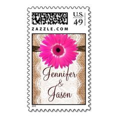 Personalized Bride and Groom Wedding Stamps:  Rustic Burlap Lace Hot Pink Daisy Wedding Stamps