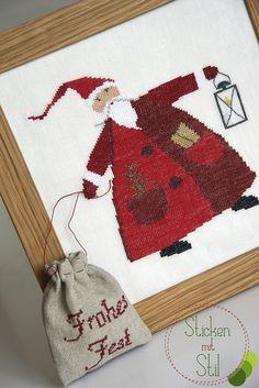 Weihnachtsmann mit Laterne / Santa with lantern, Kreuzstich / Cross Stitching, Sticken Mit Stil