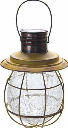 Solar Yellow Metal and Glass Modern Hanging Lantern With String Lights #lighting