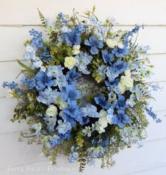 "Floral Wreath, Primitive Floral Front Door Wreath""Blue Sky""w/Forget-Me-Nots,Gift Wreath,Wedding Deco - Products - Blumenkranz Summer Door Wreaths, Wreaths For Front Door, Winter Wreaths, Spring Wreaths, Mesh Wreaths, Centerpiece Decorations, Wedding Decorations, Wreath Stand, Outdoor Wreaths"