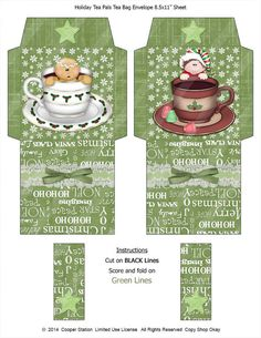 Digital Printable Holiday Tea Wrapper