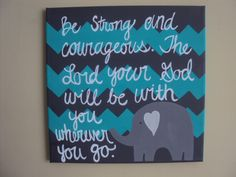 Hand painted canvas with Elephant and Bible Verse by TheGiftedBaby, $14.00