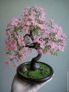 Дерево из бисера Сакура Розовое облако. Дерево счастья. Подарок для женщины, девушки. Авторская работа. Сад на ладони. Ярмарка мастеров.