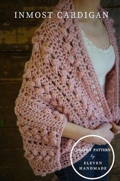 Crochet Poncho A super fast chunky crochet project, the Inmost Cardigan is a fun pattern for spring – it's a handy extra layer that doesn't add warmth so much as style! Crochet Cardigan Pattern, Crochet Jacket, Crochet Shawl, Crochet Yarn, Easy Crochet, Crochet Stitches, Crochet Patterns, Crochet Sweaters, Knitting Patterns
