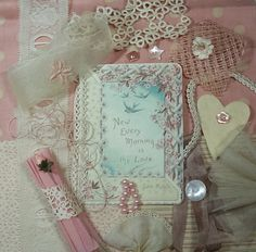 Pale pink and cream shades of vintage, sweet 1920s floral image, little art kit