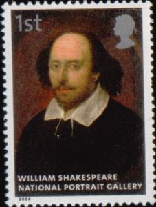 Royal Mail 1st class postage stamp featuring William Shakespeare (1564 - 1616)