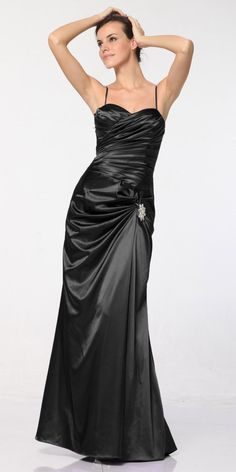 CLEARANCE - Plus Size Black Satin Dress Pleated Bodice Strapless